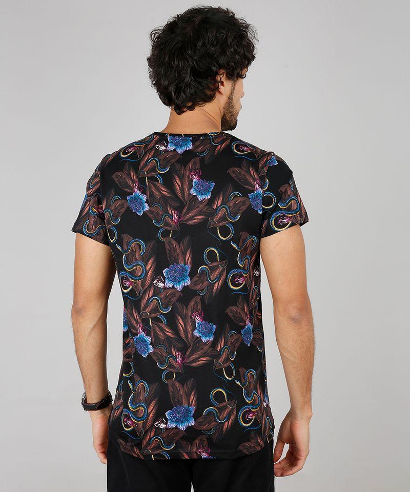 Camiseta-Masculina-Slim-Fit-Estampada-Floral-com-Cobra-Manga-Curta-Gola-Careca-Preto-9607367-Preto_2