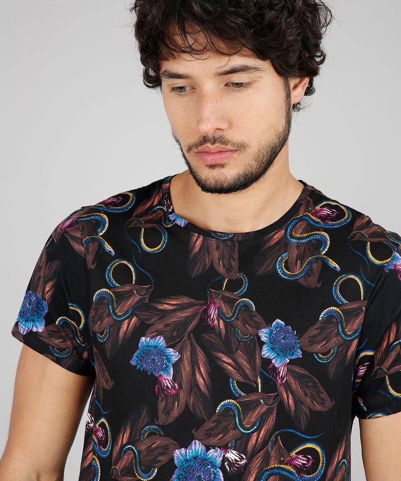 Camiseta-Masculina-Slim-Fit-Estampada-Floral-com-Cobra-Manga-Curta-Gola-Careca-Preto-9607367-Preto_4