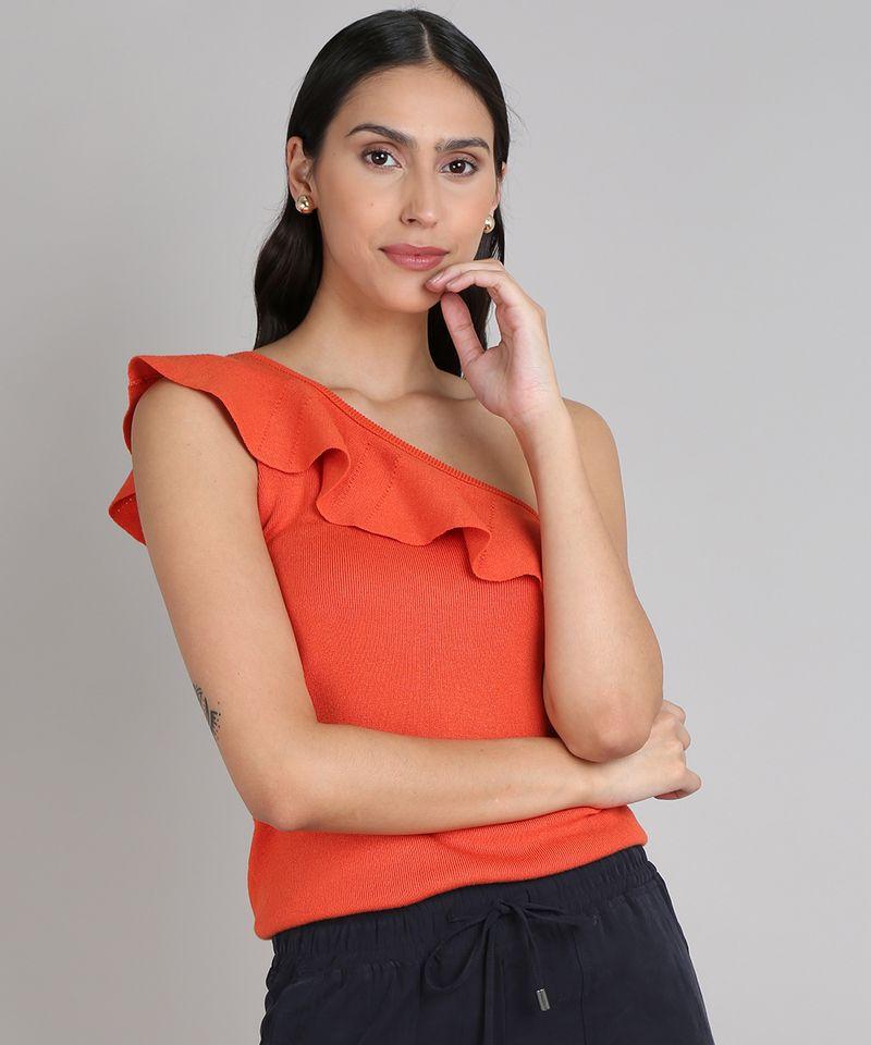Blusa-Feminina-Um-Ombro-So-com-Babado-em-Trico-Laranja-9552060-Laranja_1