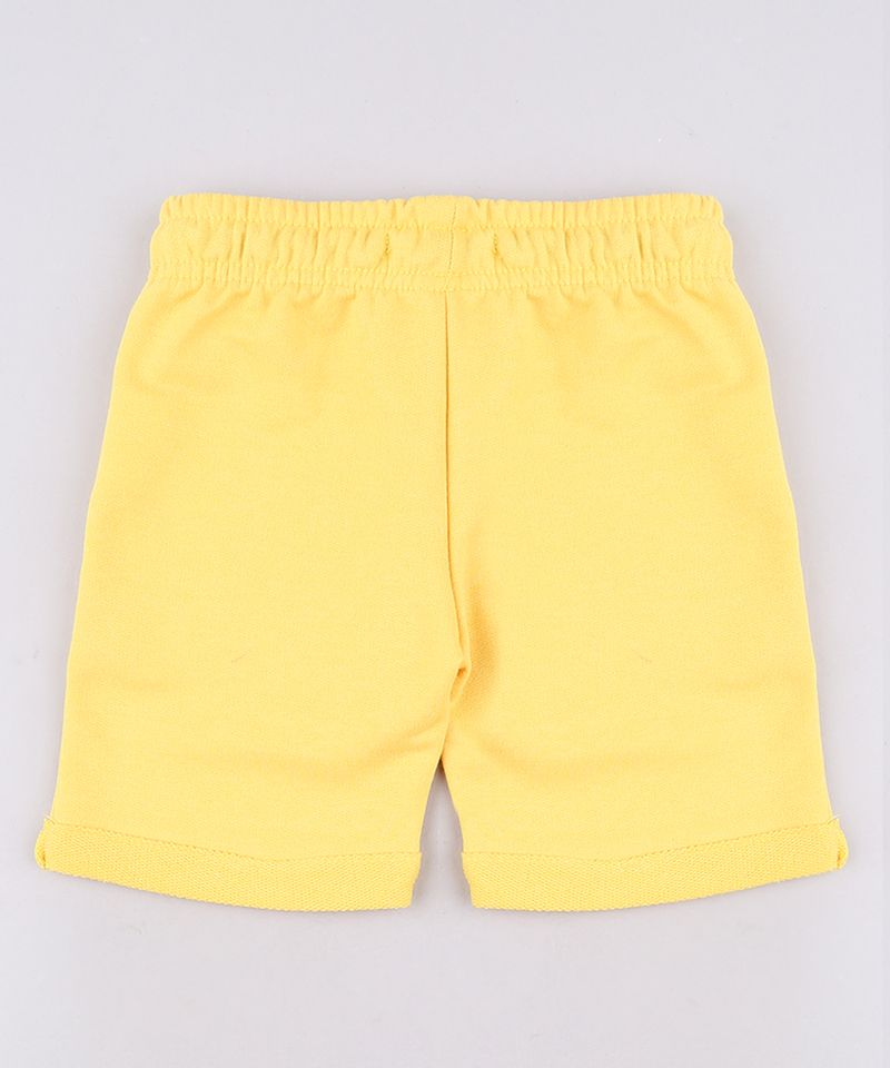 Bermuda-Infantil-em-Moletom-com-Bolso-Barra-Dobrada--Amarela-9548922-Amarelo_2