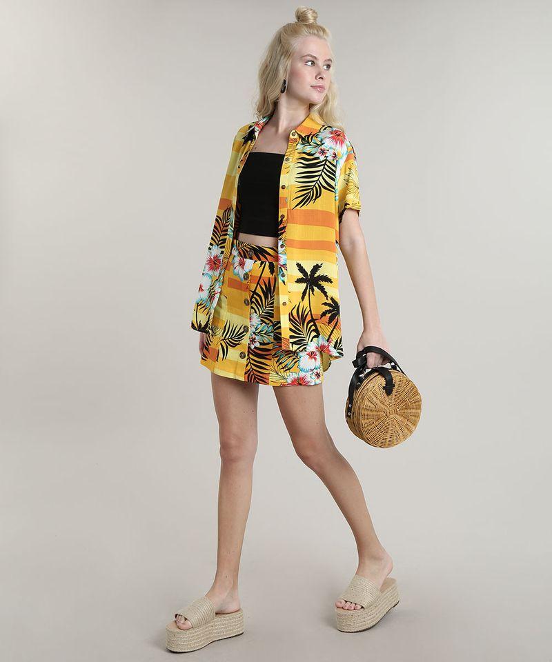Camisa-Feminina-Estampada-Tropical-com-Fenda-Manga-Curta-Amarela-9632916-Amarelo_3