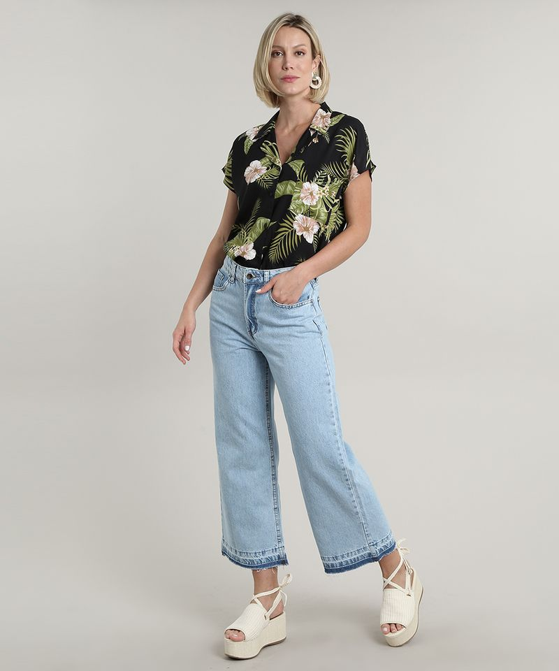 Camisa-Feminina-Estampada-Floral-Tropical-com-Bolso-Manga-Curta-Preta-9706658-Preto_3