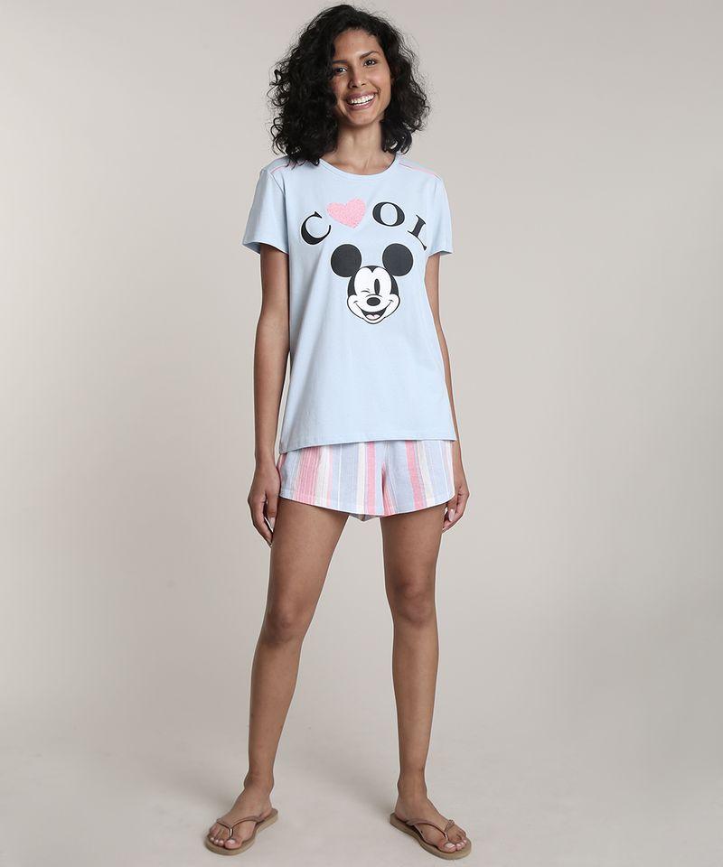 Pijama-Feminino-Mickey--Cool--Manga-Curta-Azul-Claro-9610506-Azul_Claro_1