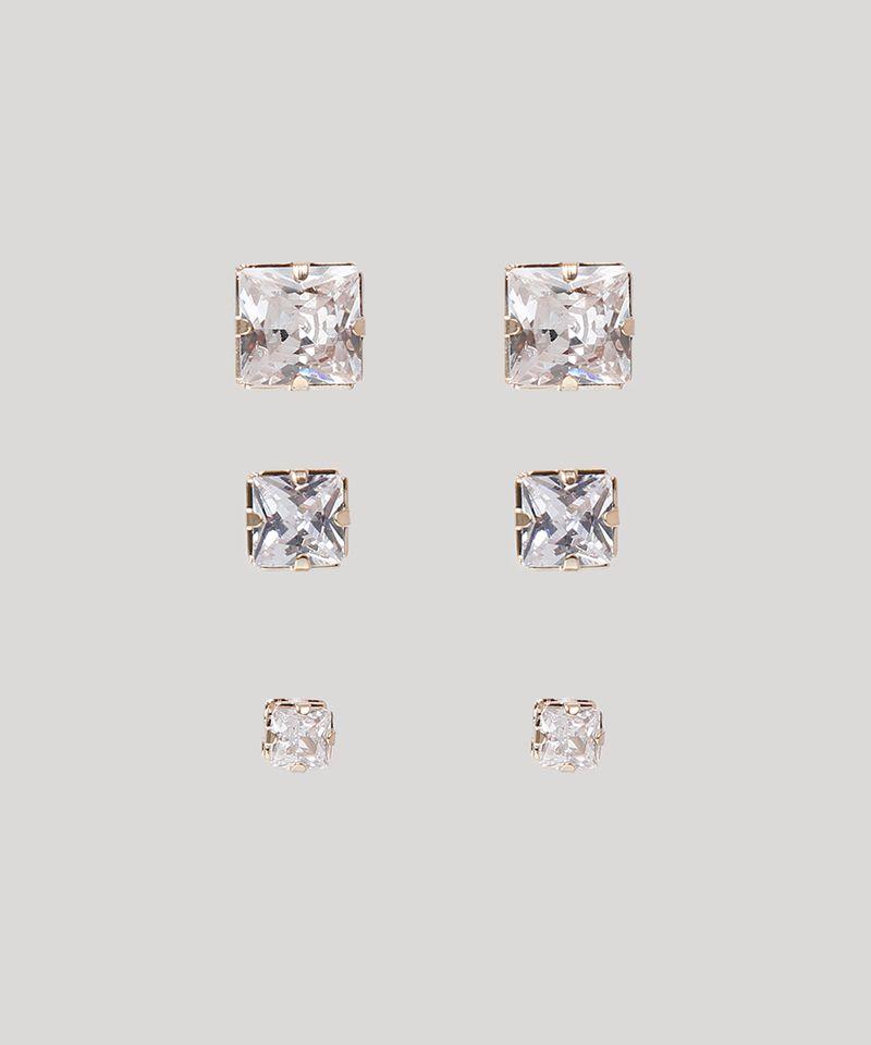 Kit-de-3-Brincos-Femininos-Folheados-Quadrados-com-Pedra-Brilhante-Dourado-9775311-Dourado_1