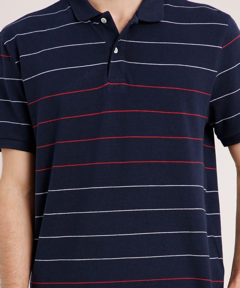 Polo-Masculina-em-Piquet-Comfort-Fit-Listrada-Manga-Curta-Azul-Marinho-9590412-Azul_Marinho_4