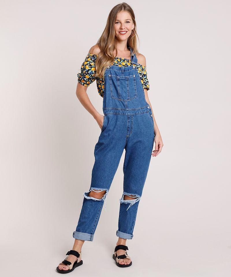 Macacao-Jeans-Feminino-Relaxed-com-Rasgos-Azul-Escuro-9834568-Azul_Escuro_1