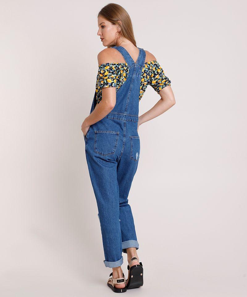 Macacao-Jeans-Feminino-Relaxed-com-Rasgos-Azul-Escuro-9834568-Azul_Escuro_2