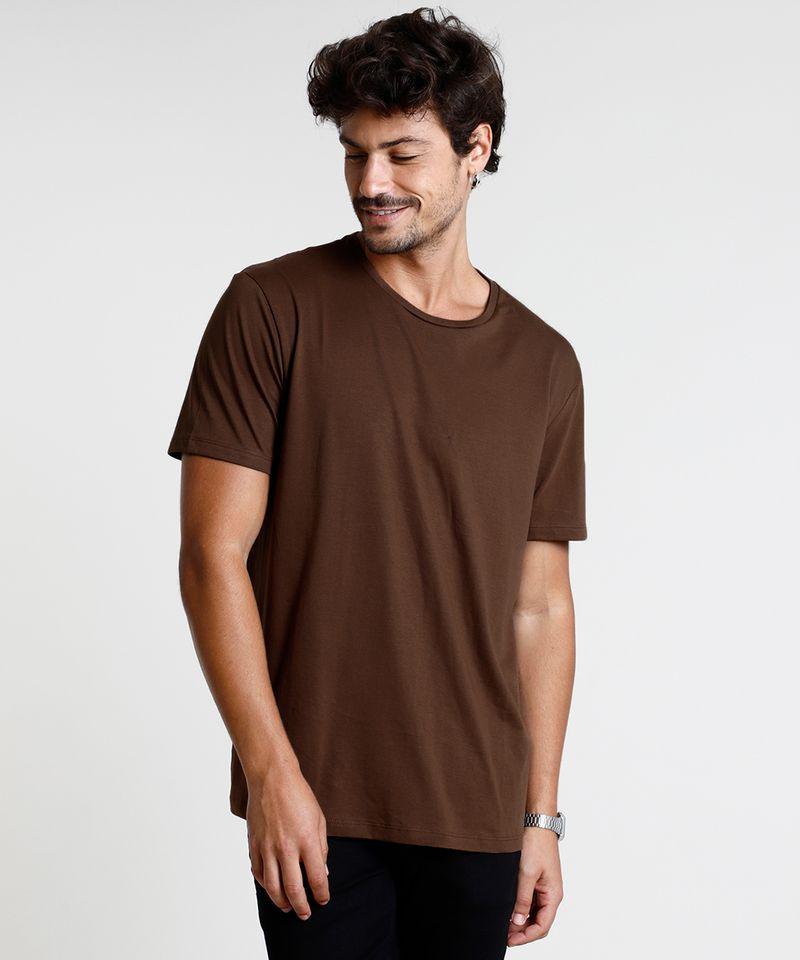 Camiseta-Masculina-Basica-Manga-Curta-Gola-Careca-Marrom-8472740-Marrom_1