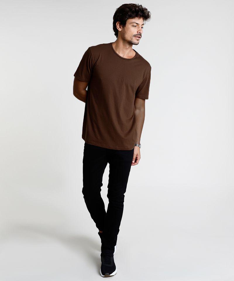 Camiseta-Masculina-Basica-Manga-Curta-Gola-Careca-Marrom-8472740-Marrom_3