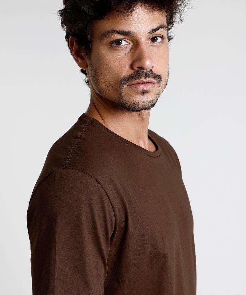 Camiseta-Masculina-Basica-Manga-Curta-Gola-Careca-Marrom-8472740-Marrom_4