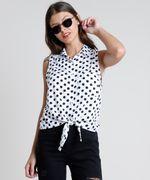 Camisa-Feminina-Estampada-de-Poa-com-No-e-Bolso-Sem-Manga-Branca-9807034-Branco_1