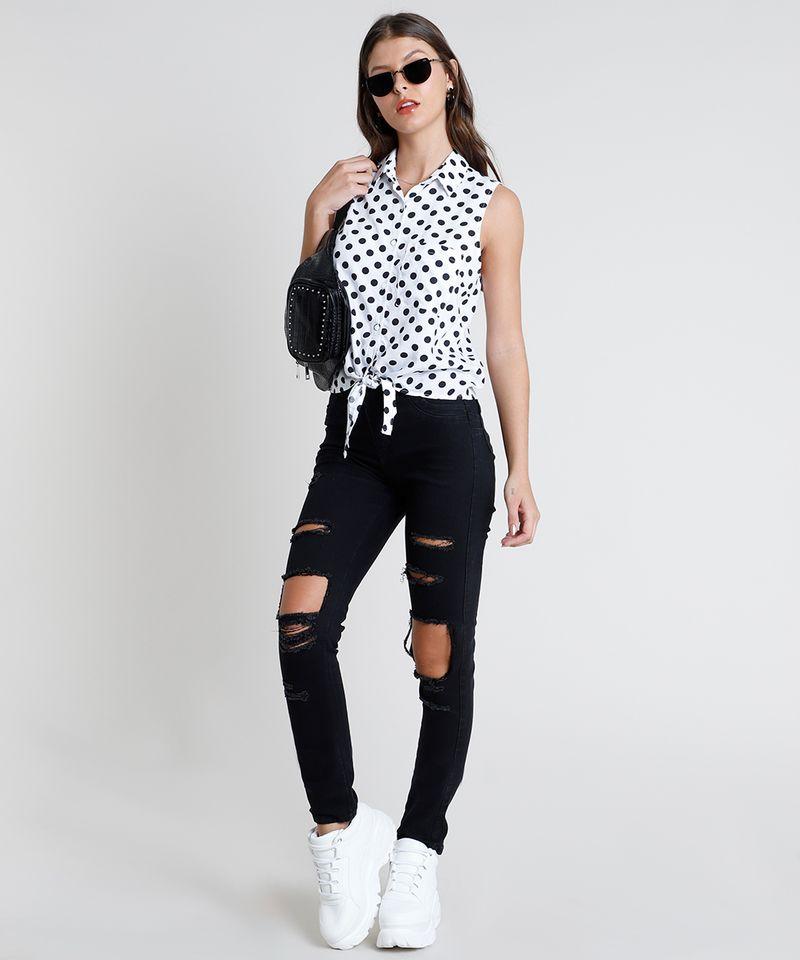 Camisa-Feminina-Estampada-de-Poa-com-No-e-Bolso-Sem-Manga-Branca-9807034-Branco_3