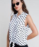 Camisa-Feminina-Estampada-de-Poa-com-No-e-Bolso-Sem-Manga-Branca-9807034-Branco_4