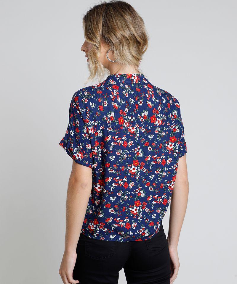 Camisa-Feminina-Estampada-Floral-com-Bolso-e-No-Manga-Curta-Azul-Marinho-9807195-Azul_Marinho_2
