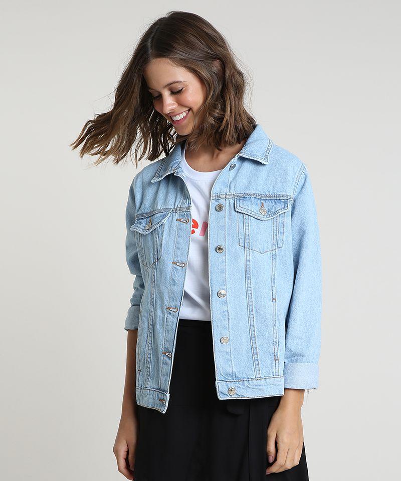 Jaqueta Jeans Feminina Azul Claro com Bolsos