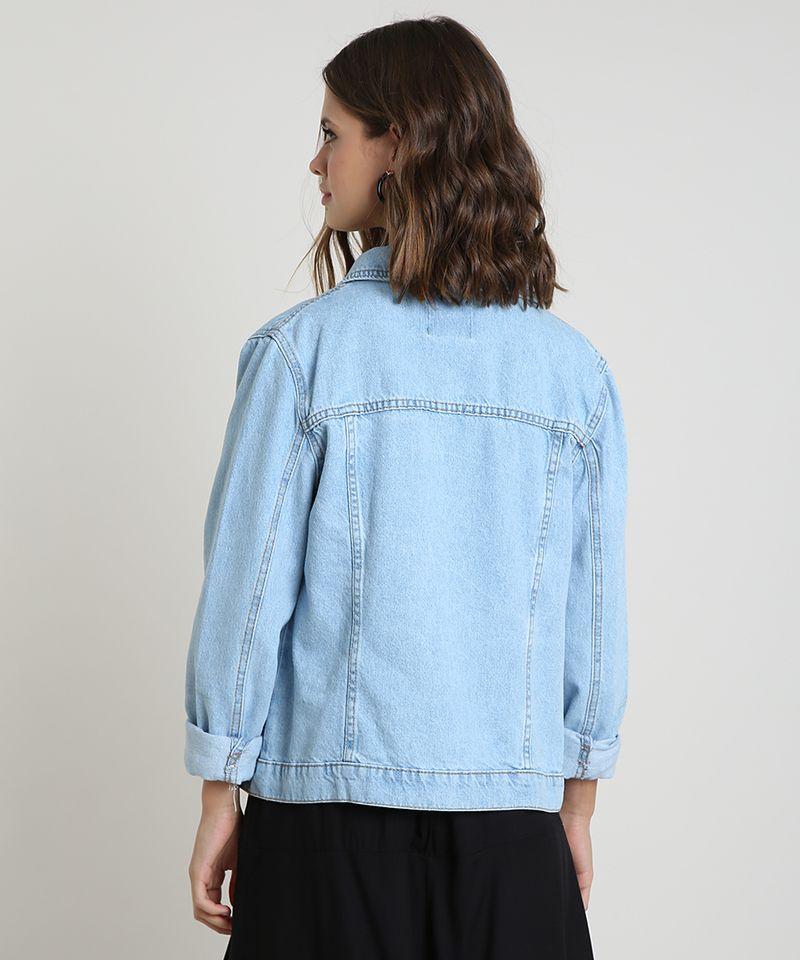 Jaqueta Jeans Feminina Azul Claro com Bolsos Costas