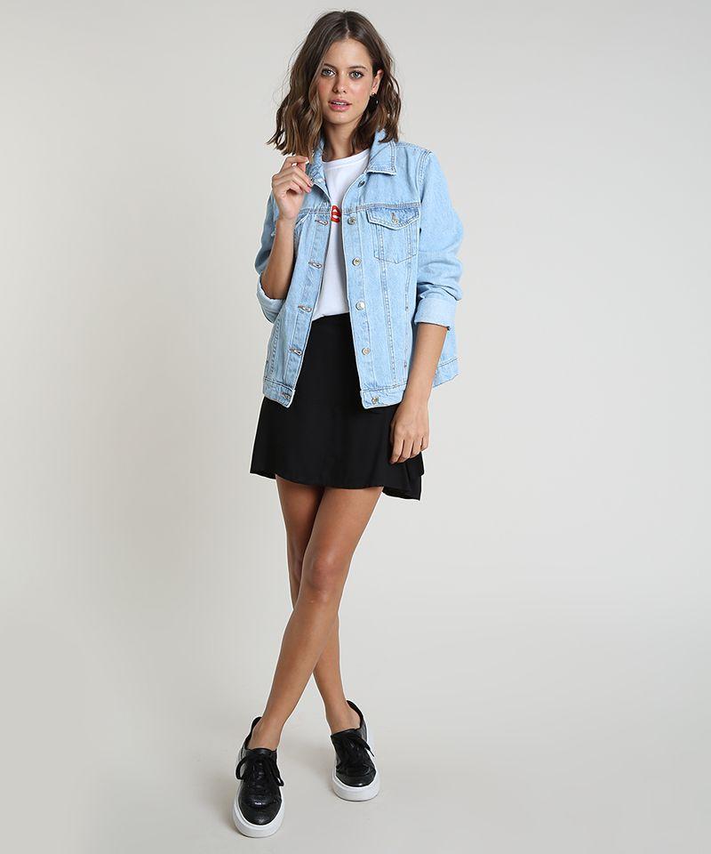 Jaqueta Jeans Feminina Azul Claro com Bolsos Frente