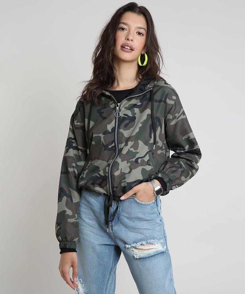 Jaqueta-Corta-Vento-Feminina-Estampada-Camuflada-com-Capuz-Verde-Militar-9786532-Verde_Militar_1