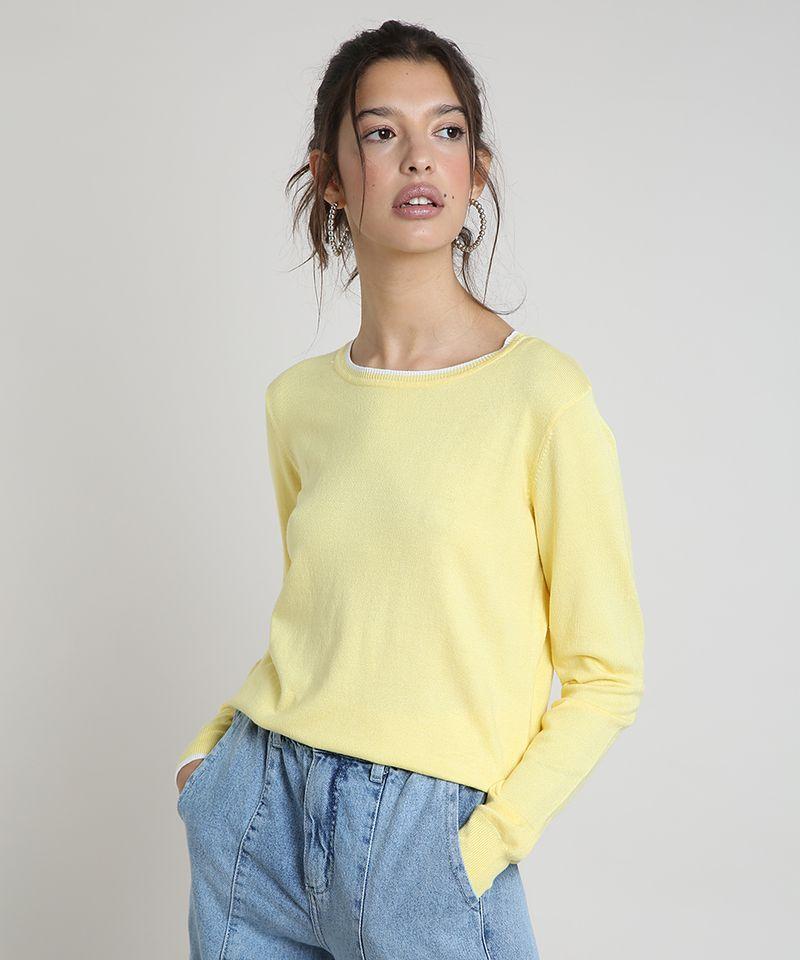 Sueter-Feminino-Basico-em-Trico-Decote-Redondo-Amarela-9325451-Amarelo_1