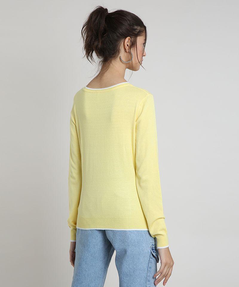 Sueter-Feminino-Basico-em-Trico-Decote-Redondo-Amarela-9325451-Amarelo_2