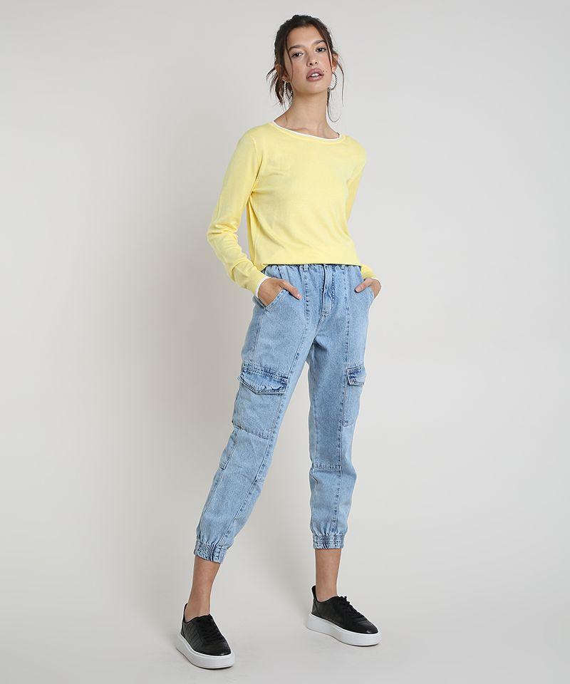 Sueter-Feminino-Basico-em-Trico-Decote-Redondo-Amarela-9325451-Amarelo_3