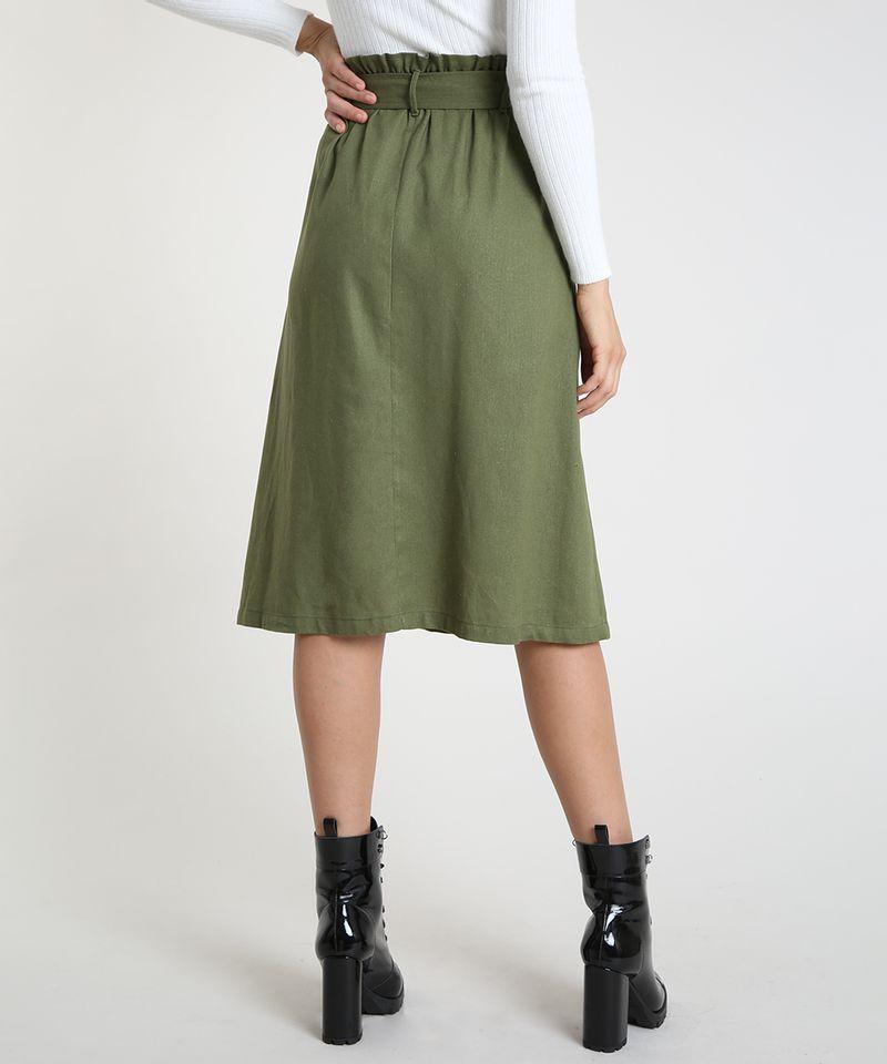 Saia-Feminina-Midi-Listrada-com-Linho-e-Cinto-Verde-Militar-9872782-Verde_Militar_2