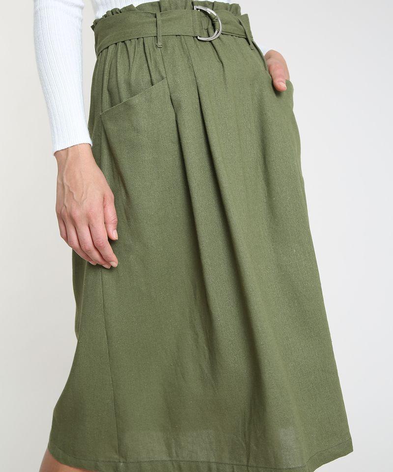 Saia-Feminina-Midi-Listrada-com-Linho-e-Cinto-Verde-Militar-9872782-Verde_Militar_4