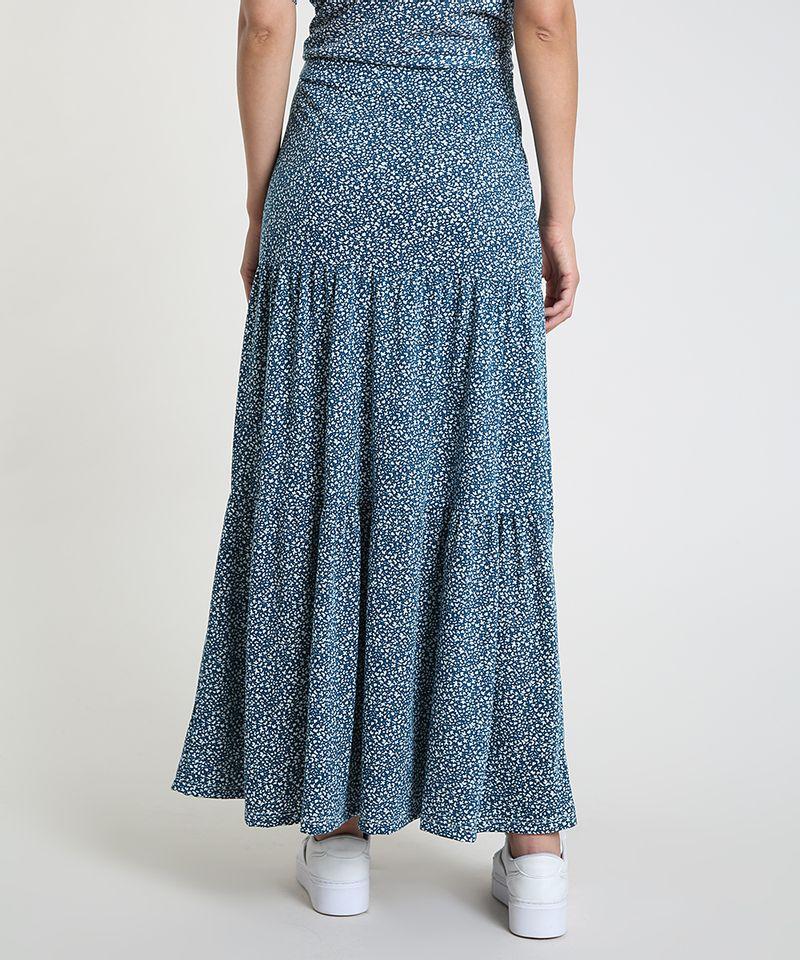 Saia-Feminina-Longa-Estampada-Floral-com-Recortes--Azul-Petroleo-9879955-Azul_Petroleo_2