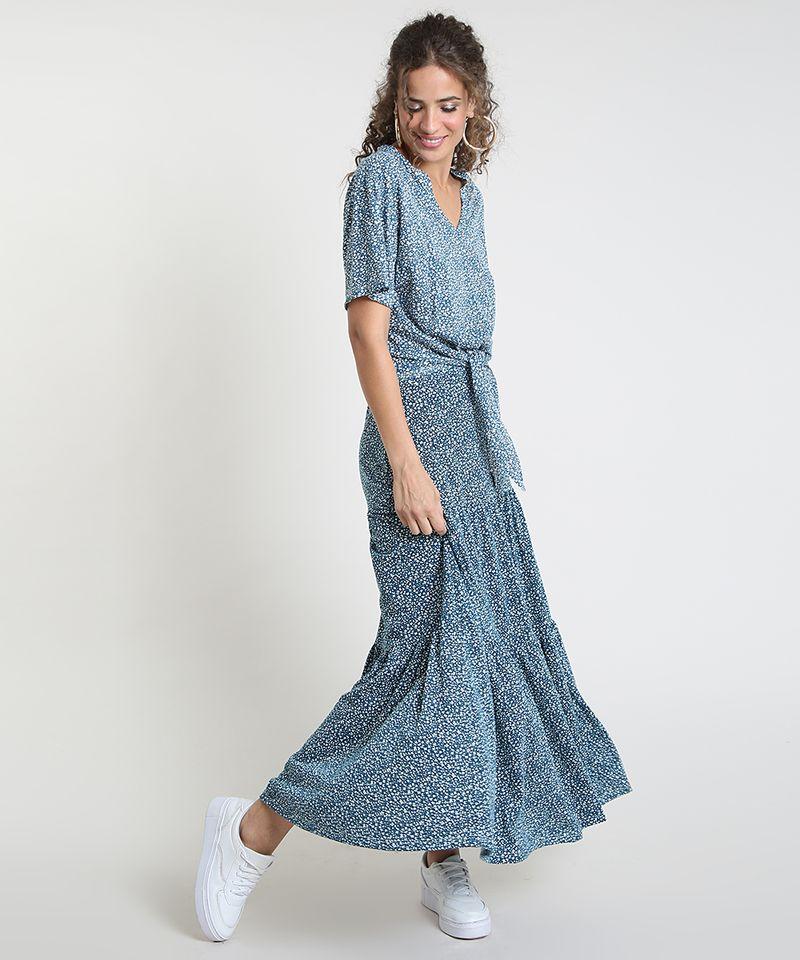 Saia-Feminina-Longa-Estampada-Floral-com-Recortes--Azul-Petroleo-9879955-Azul_Petroleo_3