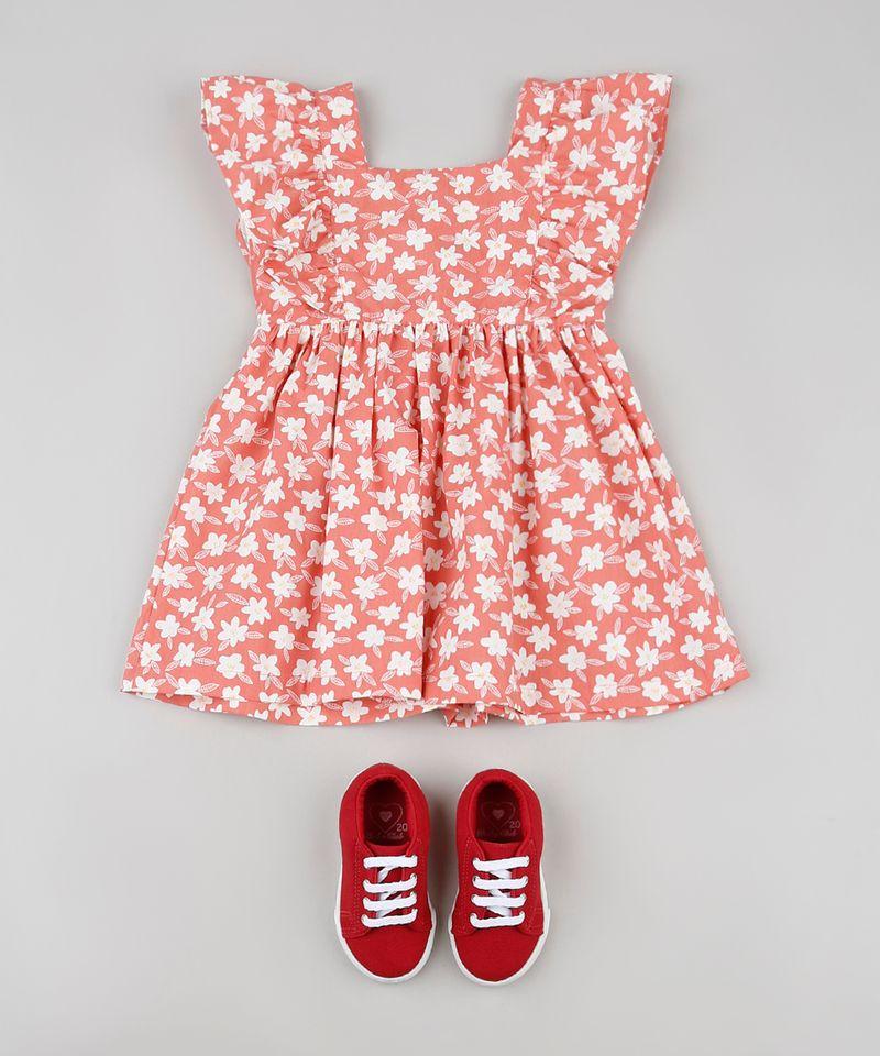 Vestido-Infantil-Estampado-Floral-com-Babado-na-Manga-Coral-9936140-Coral_3