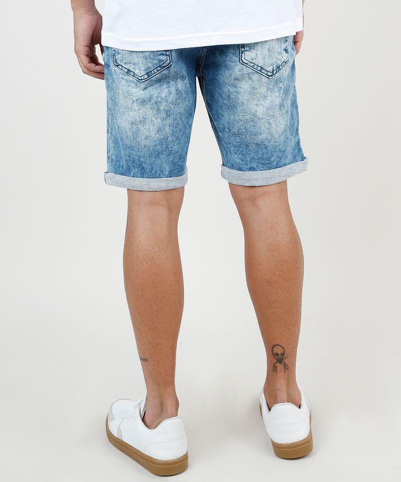 Bermuda-Jeans-Masculina-Slim-com-Recortes-e-Barra-Dobrada-Azul-Medio-9860116-Azul_Medio_4