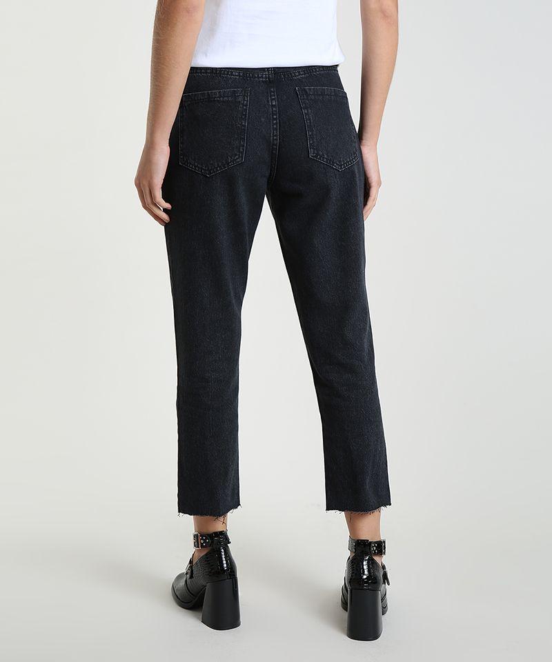 Calca-Jeans-Feminina-Mom-Cropped-Cintura-Alta-com-Rasgos-Preta-9946086-Preto_2