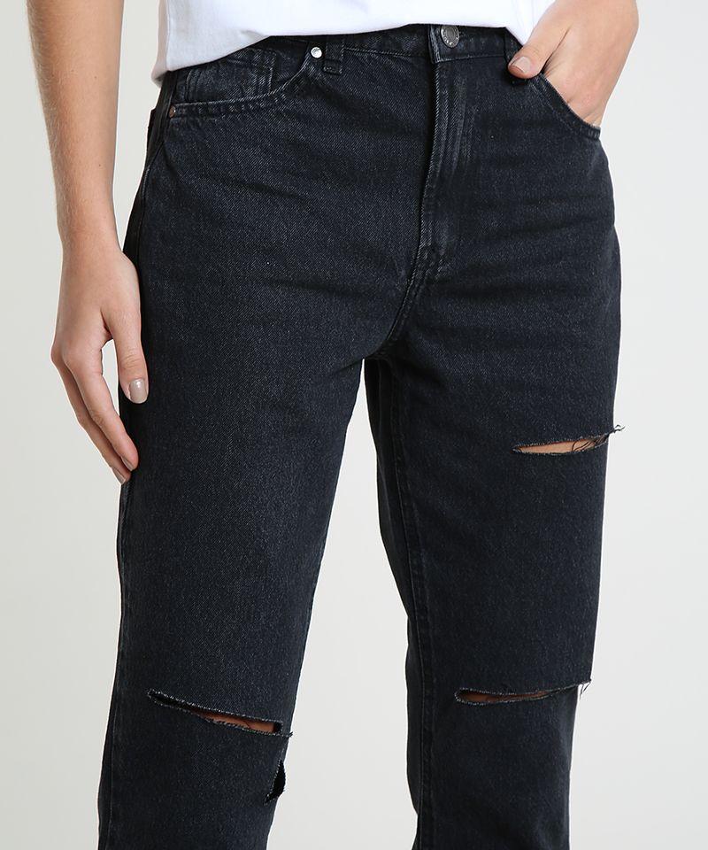 Calca-Jeans-Feminina-Mom-Cropped-Cintura-Alta-com-Rasgos-Preta-9946086-Preto_4