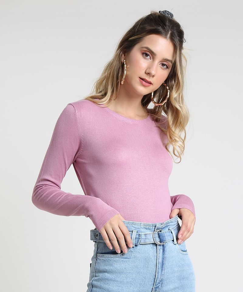 Sueter-Feminino-Basico-em-Trico-Decote-Redondo-Rose-9325342-Rose_1