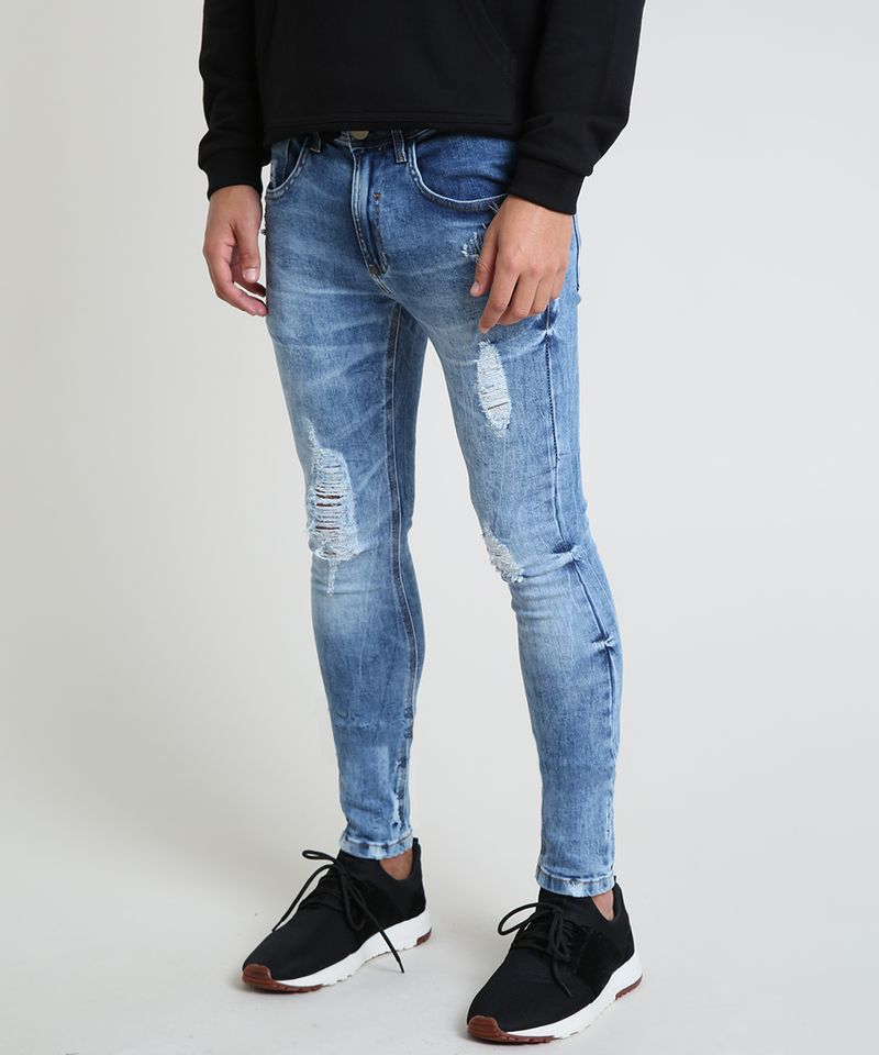 Calca-Jeans-Masculina-Super-Skinny-Destroyed-Azul-Medio-9884263-Azul_Medio_1