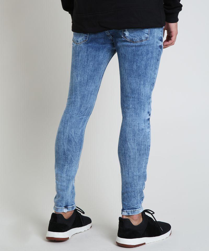 Calca-Jeans-Masculina-Super-Skinny-Destroyed-Azul-Medio-9884263-Azul_Medio_4