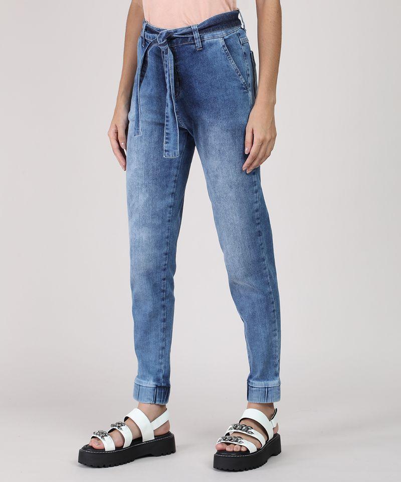Calca-Jeans-Feminina-Sawary-Jogger-Cintura-Media-com-Faixa-para-Amarrar-Azul-Medio-9949251-Azul_Medio_1