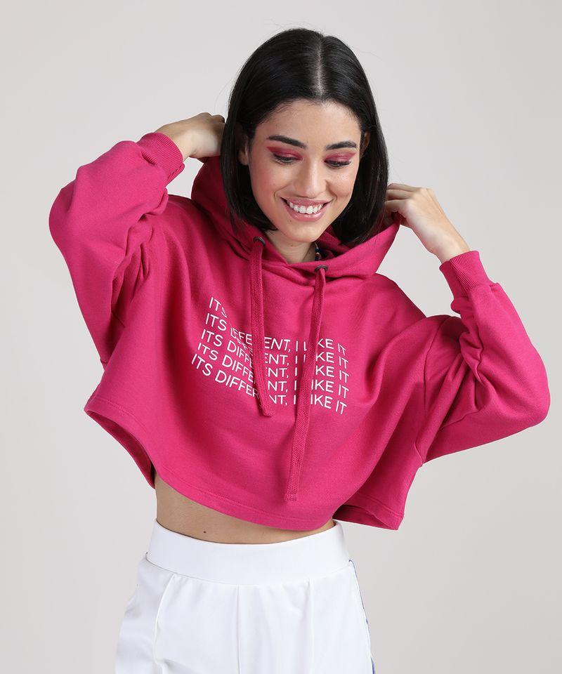 Moletom Cropeed Feminino com Capuz Pink Frente