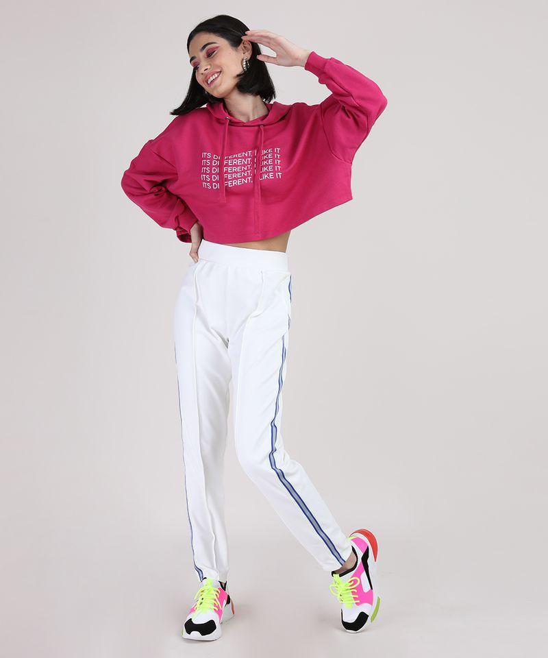Moletom Cropeed Feminino com Capuz Pink Corpo Inteiro