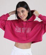 Moletom Cropeed Feminino com Capuz Pink