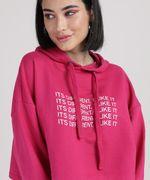Moletom Cropeed Feminino com Capuz Pink Detalhes