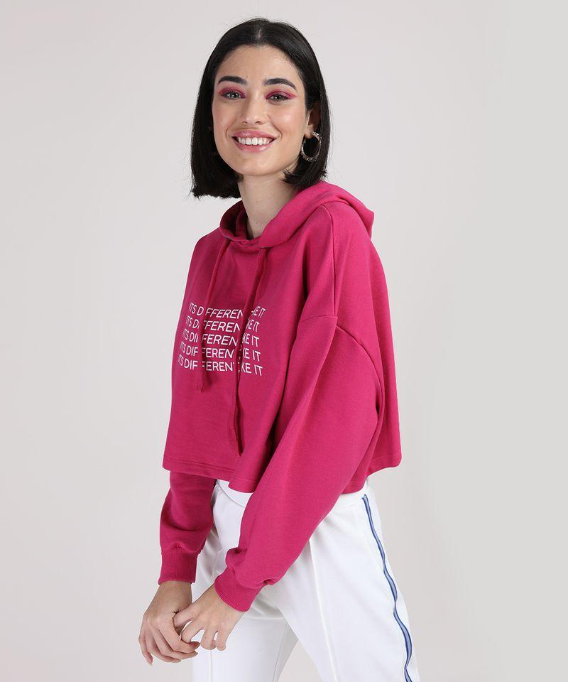 Moletom Cropeed Feminino com Capuz Pink Lateral