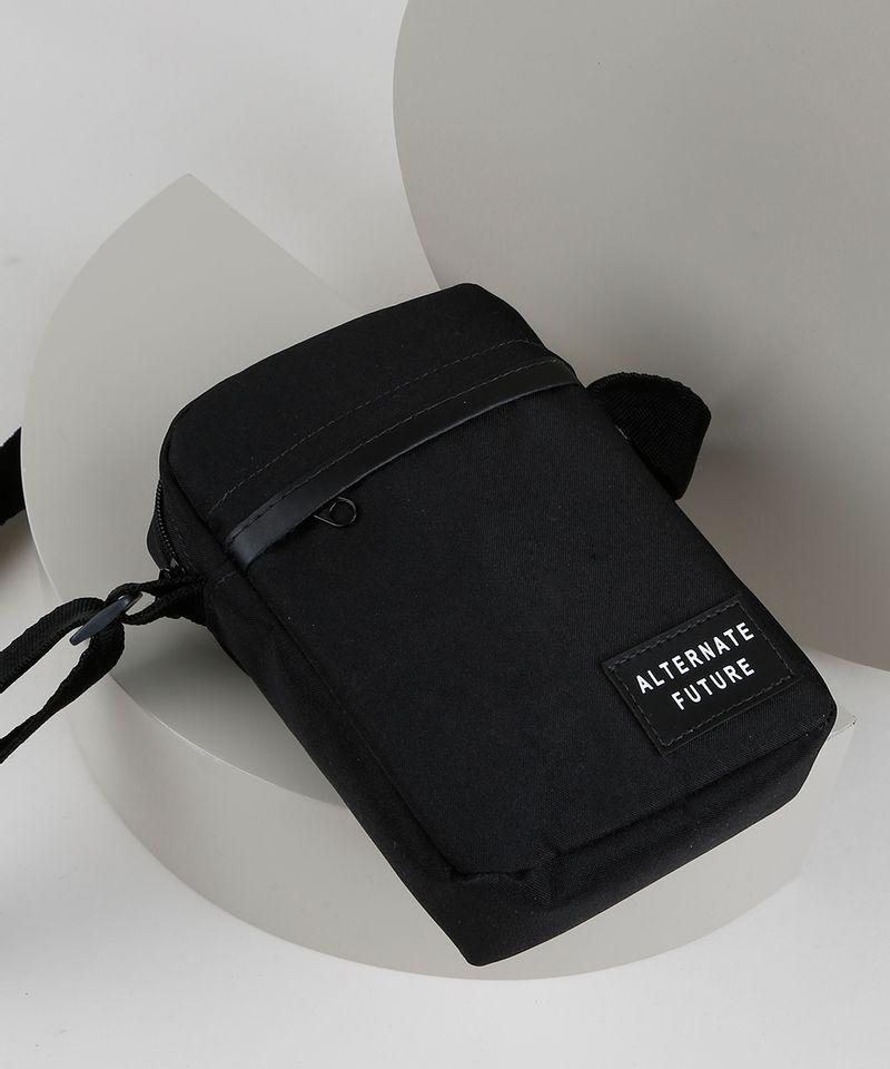 Shoulder Bag Transversal Masculina Preta Detalhada