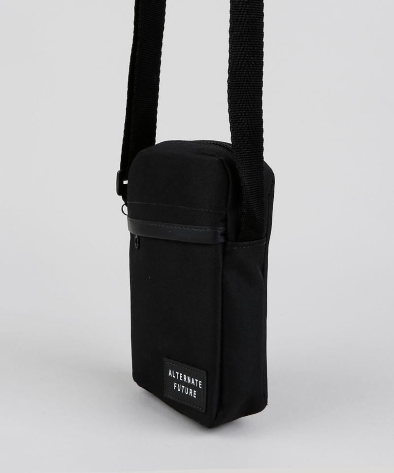 Shoulder Bag Transversal Masculina Preta Lateral