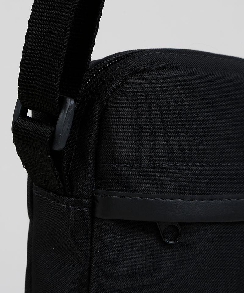 Shoulder Bag Transversal Masculina Preta Detalhes