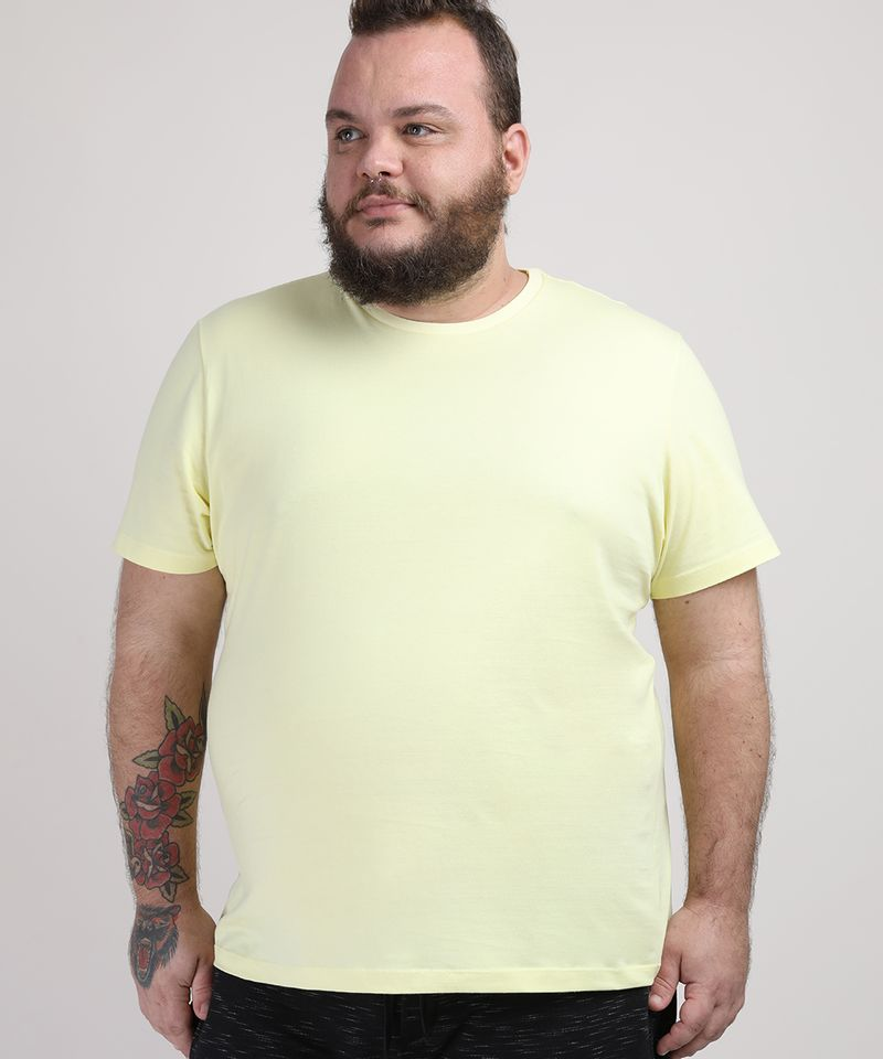 Camiseta-Masculina-Plus-Size-Manga-Curta-Gola-Careca-Amarelo-Claro-9951397-Amarelo_Claro_1