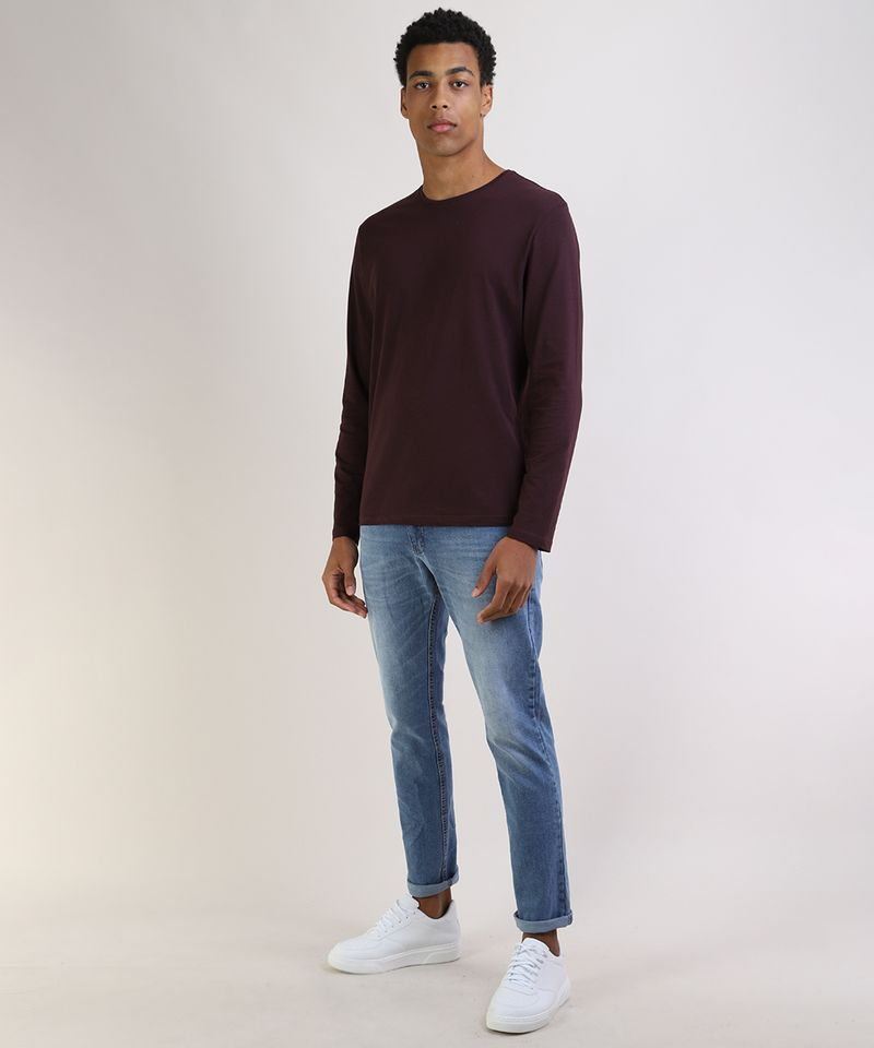 Camiseta-Masculina-Basica-Comfort-Fit-Manga-Longa-Gola-Careca--Vinho-9826872-Vinho_3