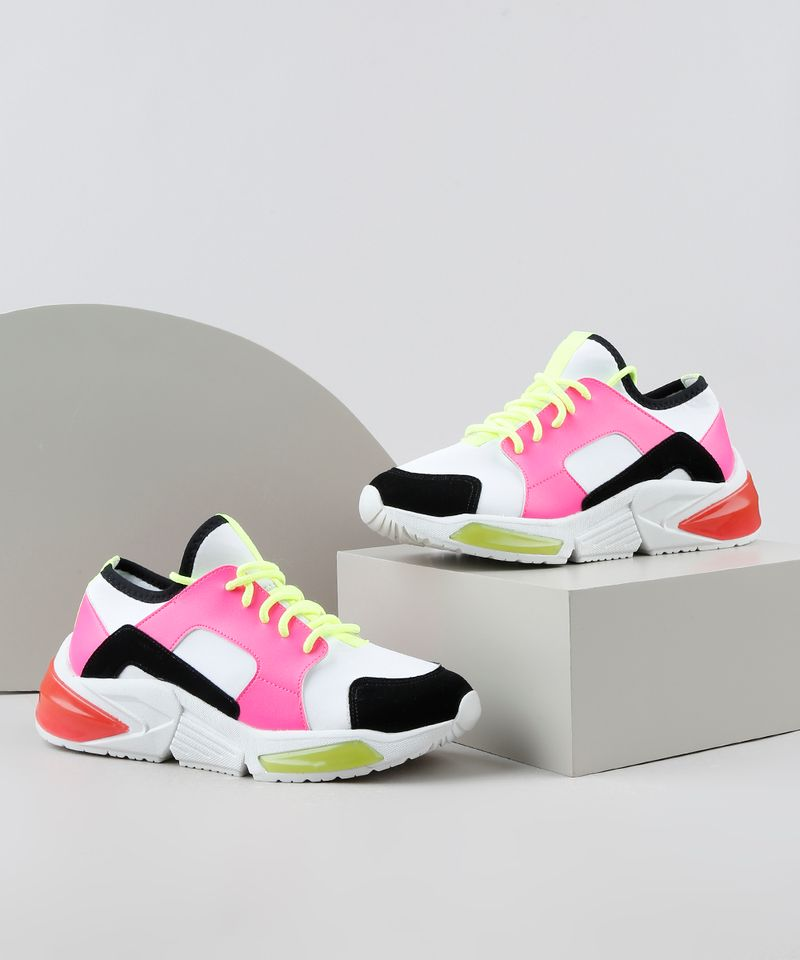 Tenis-Feminino-de-Neoprene-Oneself-Sneaker-Chunky-Color-Block-Neon-Branco-9906436-Branco_1