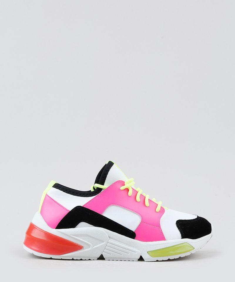 Tenis-Feminino-de-Neoprene-Oneself-Sneaker-Chunky-Color-Block-Neon-Branco-9906436-Branco_2