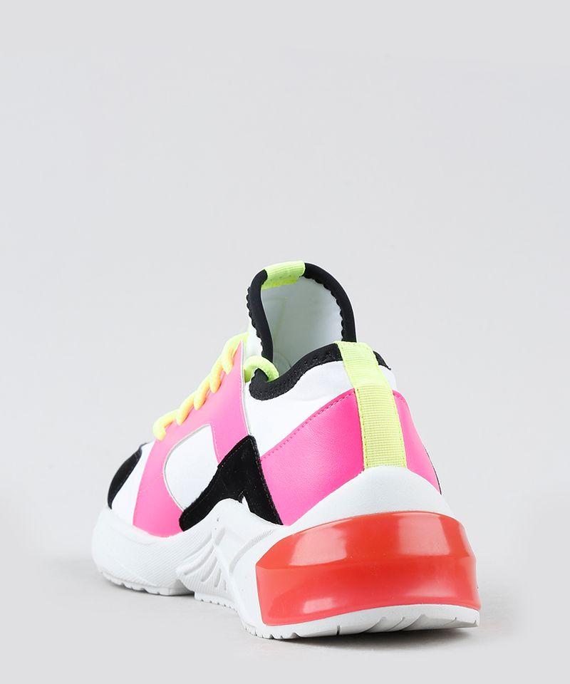 Tenis-Feminino-de-Neoprene-Oneself-Sneaker-Chunky-Color-Block-Neon-Branco-9906436-Branco_4